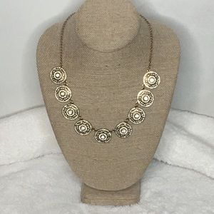 J. Crew Brushed Gold Medallion Necklace